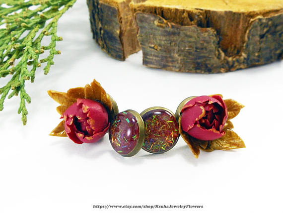 Polymer clay burgundy peonies jewelry