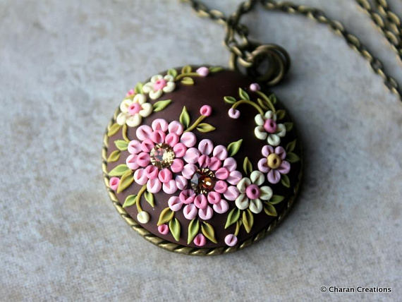 Polymer clay embroidery jewelry set