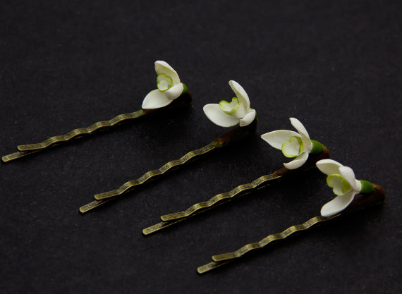 Polymer clay snowdrop hair accessories