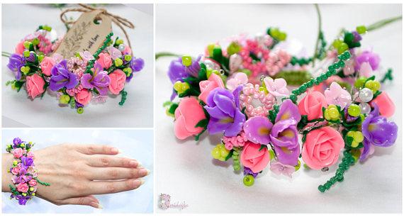 Polymer clay floral bracelets