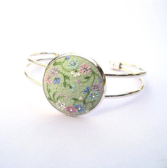 Polymer clay cabochon bracelet
