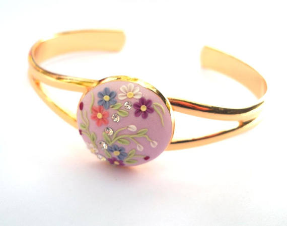 Light Purple Bracelet Gold Plated Bangle Art Deco Bracelet White Blue Purple Flowers Clay Embroidery Polymer Clay Jewelry Clay Jewellery