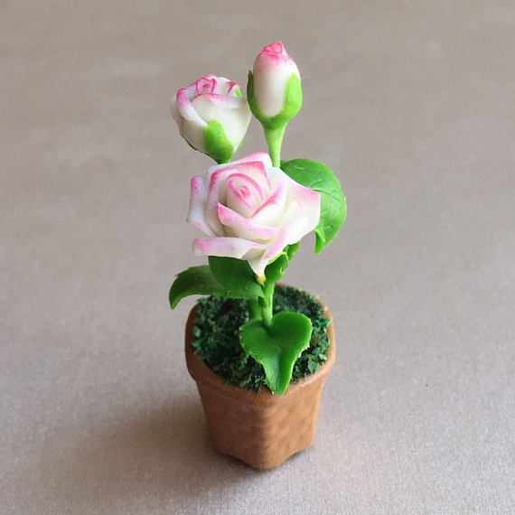 Polymer clay miniature flowers in pots