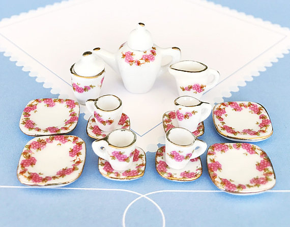Polymer clay miniature tea set