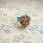 Miniature rainbow roses studs, Handmade earrings studs, Polymer clay rainbow roses, Sterling silver studs, Fimo, Rainbow earrings, Ready