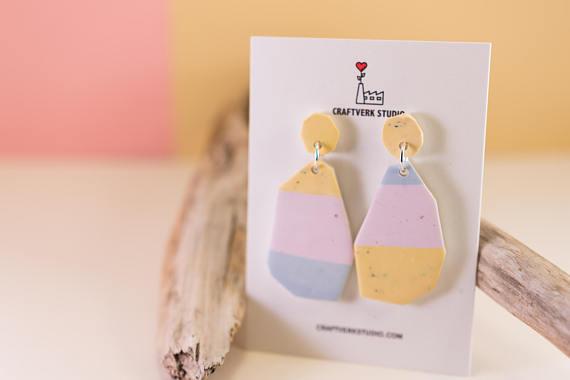 Polymer clay dangle geometric earrings on Etsy