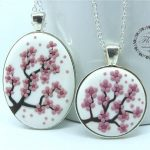 Mom Daughter Jewelry Sets Pink Flower Necklace Mother Daughter Necklace Set Big Little Sisters Necklace for 2 Christmas Gifts