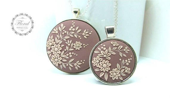 Mother Daughter Necklace Set Mom and Daughter Jewelry Flower Pendant Necklace Wedding Gift-for-Mother from Daughter  sc 1 st  Polymer clay tutorials. FIMO DIY tutorials. & Mother Daughter Necklace Set Mom and Daughter Jewelry Flower Pendant ...