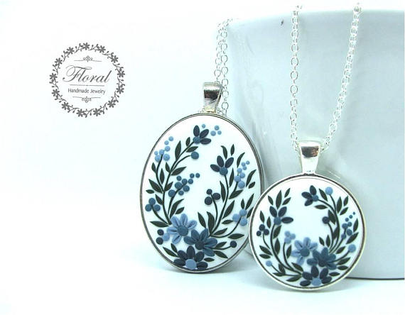 Mother daughter polymer clay necklace pendant set, Mom Daughter Jewelry Sets Blue Flower Necklace Mother Daughter Necklace Set Big Little Sisters Necklace for 2 Christmas Gifts