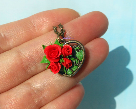 Polymer clay red rose jewelry