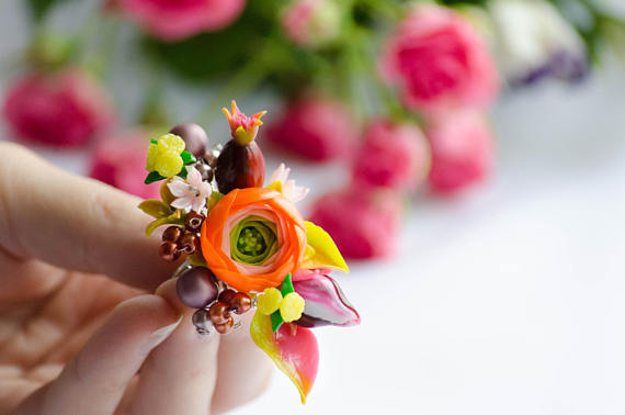 Polymer clay flowers bouquet ring