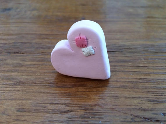 Polymer clay Valentine's day heart pins