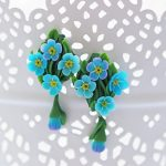 Polymer clay Forget me not earrings