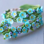 Polymer clay Forget me not jewelry - Polymer clay Forget me not hair pin
