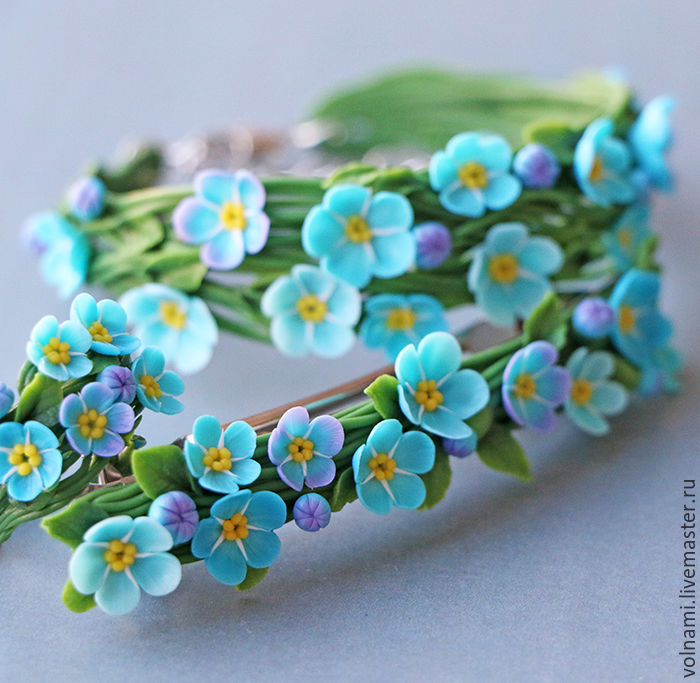 Polymer clay Forget me not jewelry Polymer clay Forget me not bracelet