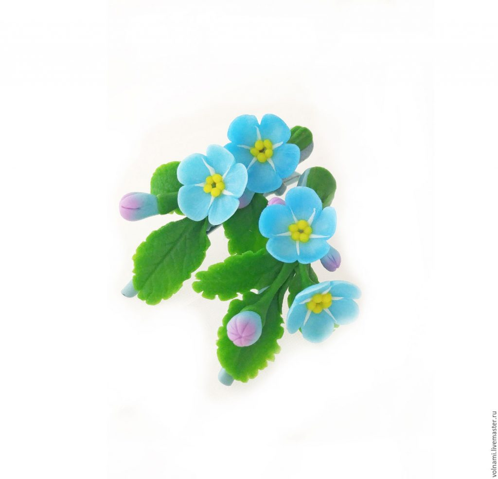Polymer clay Forget me not jewelry - Polymer clay Forget me not hair clips