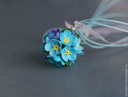 Polymer clay Forget me not jewelry