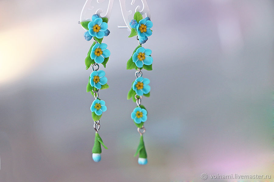 Polymer clay Forget me not long earrings