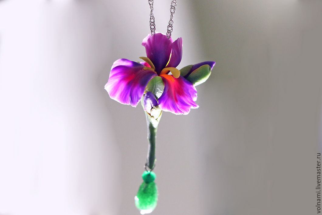 Polymer clay Iris flower jewelry