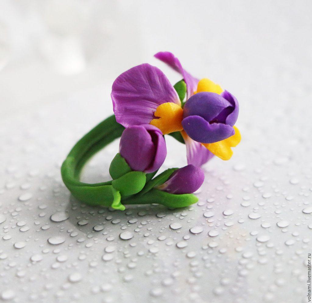 Polymer clay Iris flower jewelry - Polymer clay Iris ring