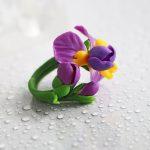 Polymer clay Iris flower jewelry - Polymer clay Iris pendant