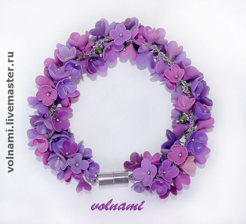 Polymer clay Lilac flowers jewelry