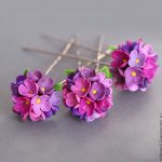 Polymer clay Lilac flowers jewelry - Polymer clay Lilac hair pin - floral hair pin