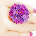 Polymer clay Lilac flowers jewelry - Polymer clay Lilac pendant - floral pendant