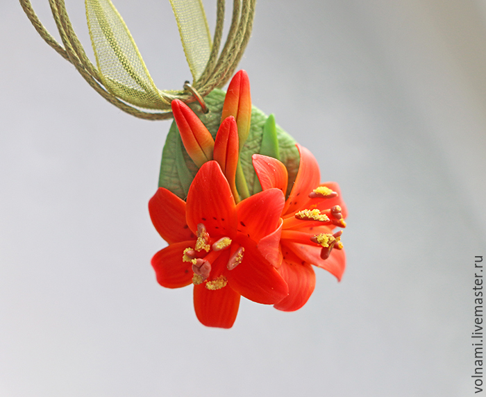 Polymer clay lily jewelry collection