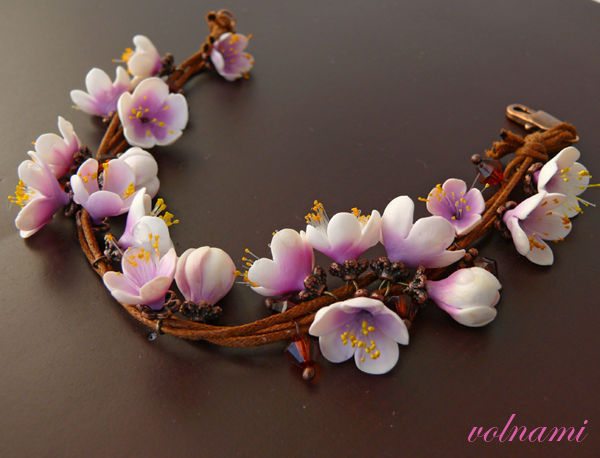 Polymer clay cherry blossoms jewelry