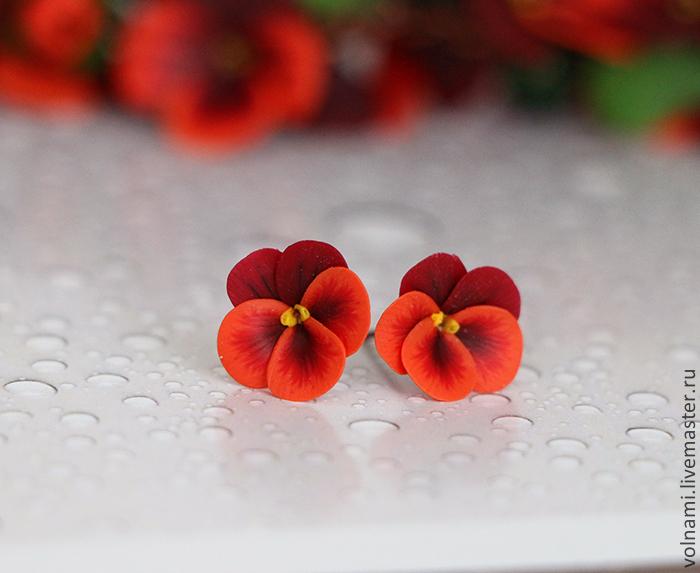 Polymer clay earrings with pansies - red pansies earrings - flower jewelery