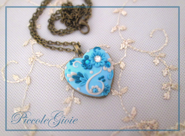 Polymer clay embroidered blue heart pendant ideas for valentines day aloadofball Image collections