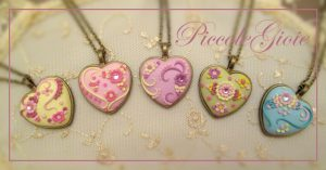 Polymer clay embroidered heart pendant ideas for Valentine's day