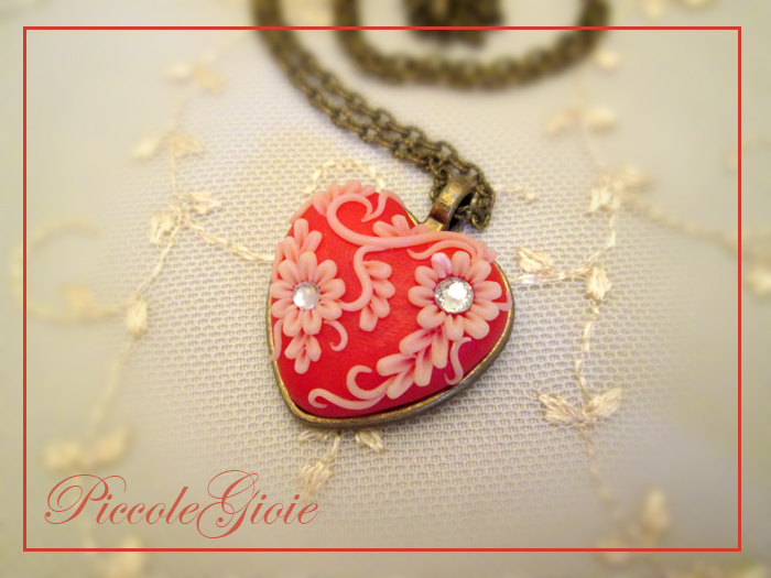 Polymer Clay Embroidered Heart Pendant Ideas For Valentine S Day In Red