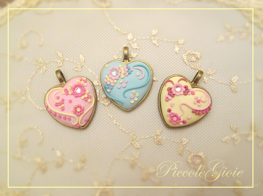 Polymer clay embroidered pastel heart pendant ideas for valentines day polymer clay embroidered pastel heart pendant ideas for valentines day aloadofball Image collections