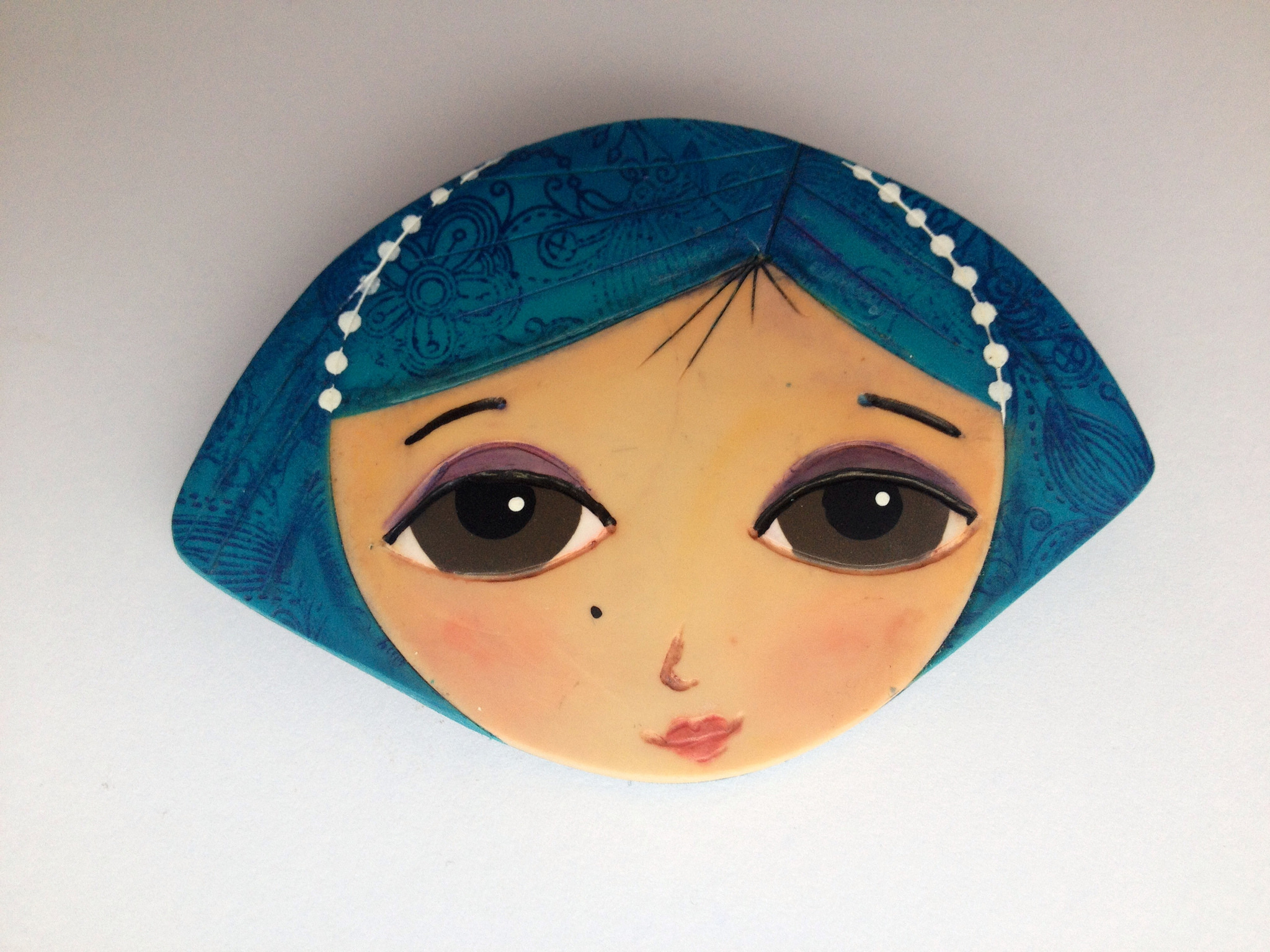 Polymer clay girl face brooch