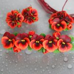 Polymer clay hair comb with pansies - red pansies hair accesories - flower hair comb