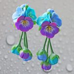 Polymer clay jewelry with pansies - mauve and turquoise pansies hair comb - flower jewelery