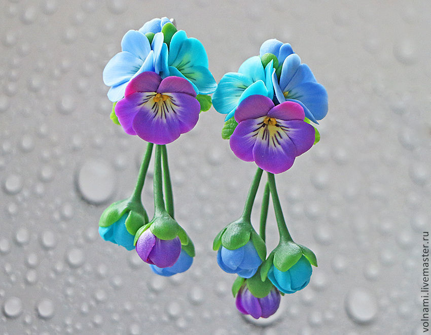 Polymer clay jewelry with pansies - mauve and turquoise pansies earrings - flower jewelery