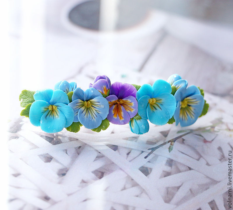 Polymer clay jewelry with pansies