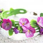 Polymer clay jewelry with pansies - purple pansies earring - flower jewelery