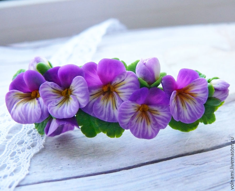 Polymer clay jewelry with pansies - purple pansies hair comb - flower jewelery