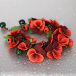 Polymer clay jewelry with pansies - red pansies bracelet - red flower jewelery