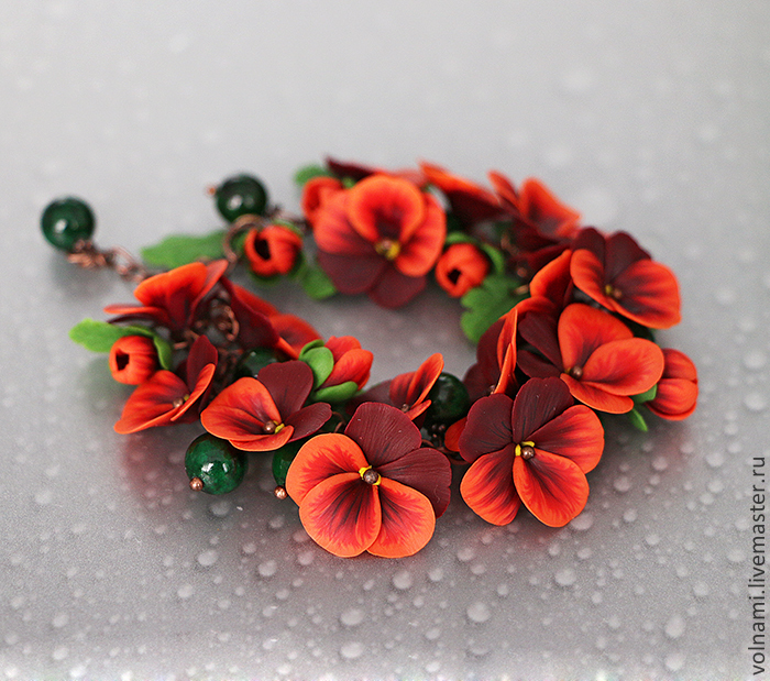 Polymer clay jewelry with pansies - red pansies bracelet - flower jewelery