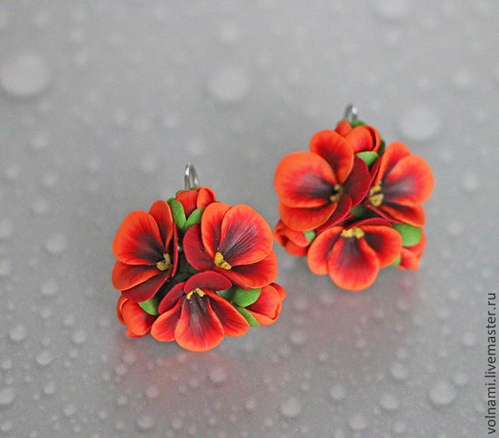 Polymer clay pansies earrings - red pansies earrings - flower jewelery