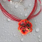 Polymer clay jewelry with pansies - mauve and turquoise pansies necklace - flower jewelery