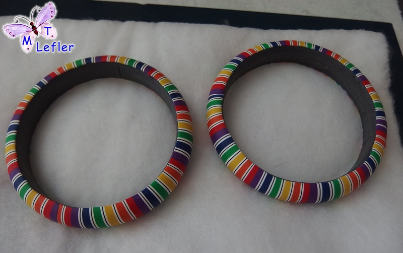 Polymer clay rainbow cane bracelet tutorial