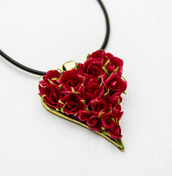 Polymer clay roses heart pendant