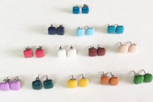 Polymer clay square earrings