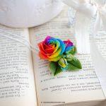 Miniature rainbow rose ring, Handmade rainbow roses ring, Polymer clay rainbow roses, Tie dye rainbow ring, Tie Dye wedding,